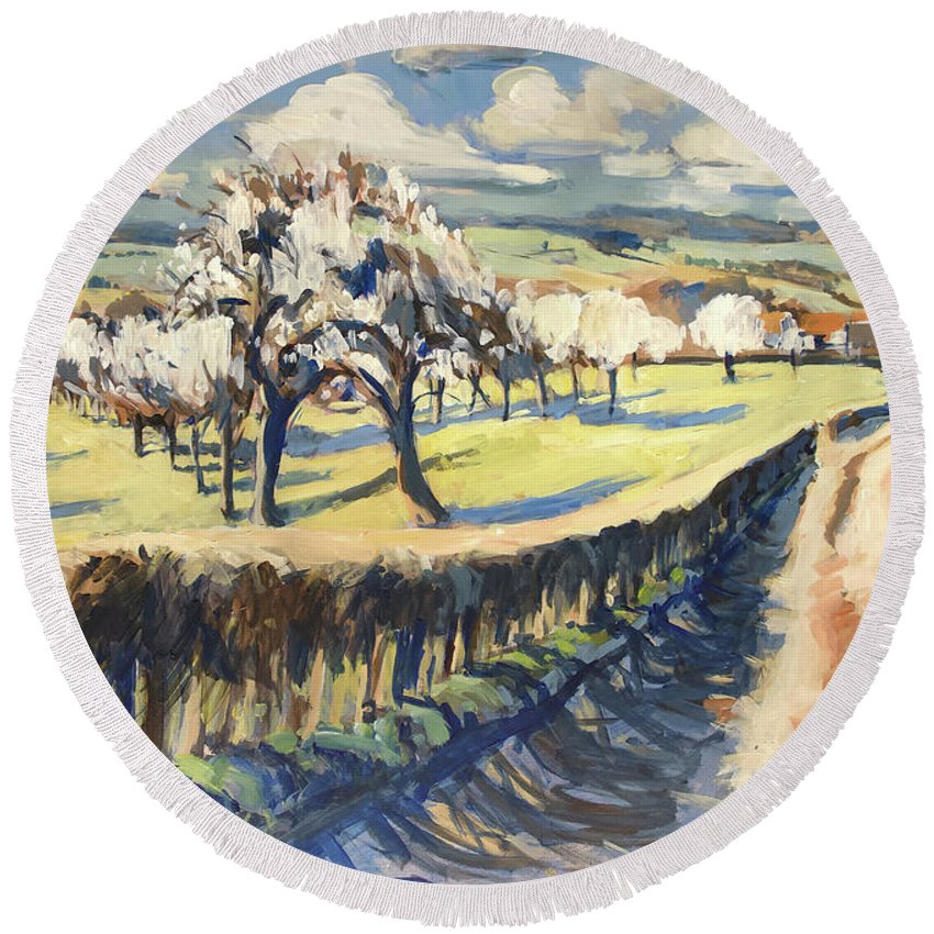 Bellet Round Beach Towel featuring the painting Spring In The Bellet Fruit Orchard by Nop Briex