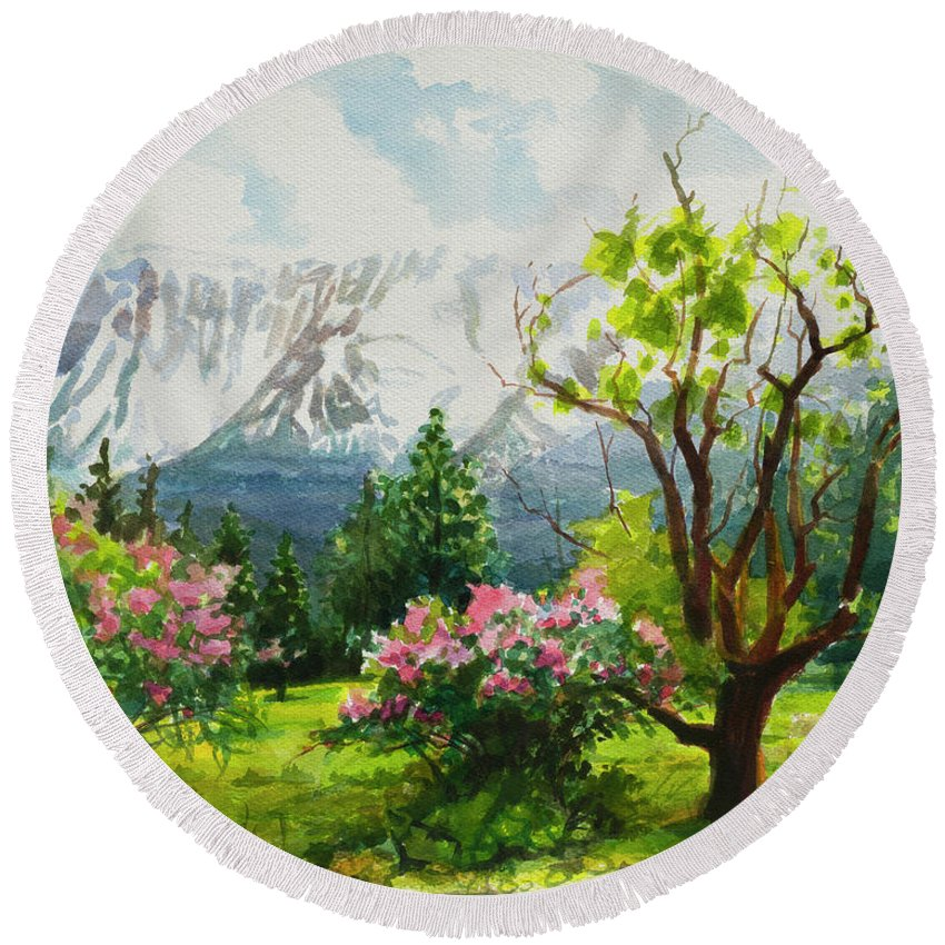 Landscape Round Beach Towel featuring the painting Spring In The Wallowas by Steve Henderson