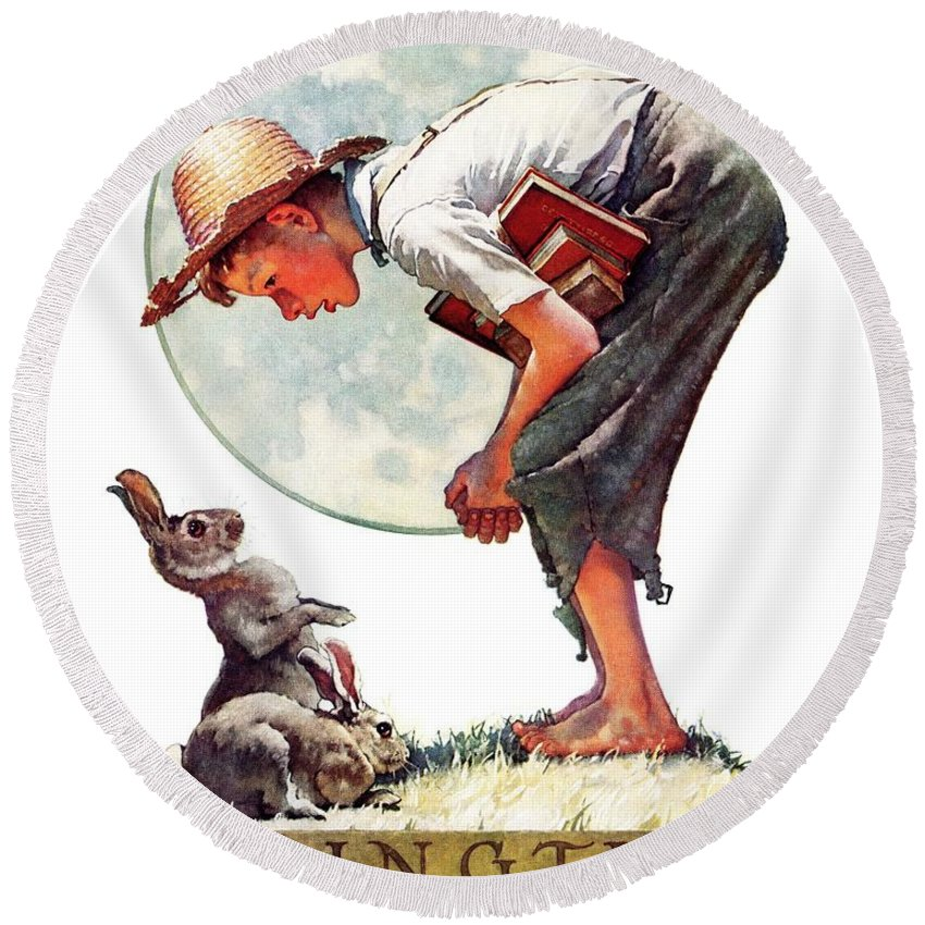 Books Round Beach Towel featuring the drawing springtime, 1935 Boy With Bunny by Norman Rockwell