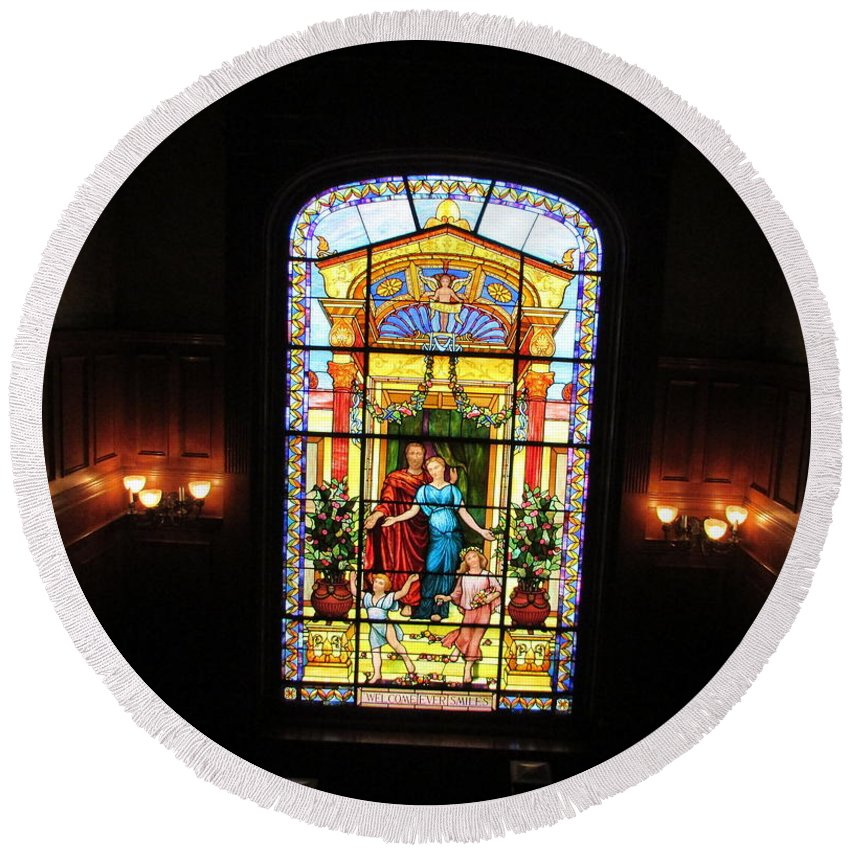 Stained Glass Round Beach Towel featuring the photograph Stained Glass At Moody Mansion by Pamula Reeves-Barker