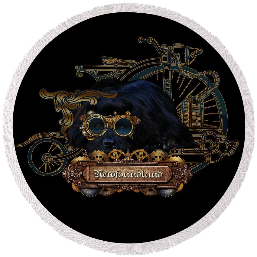 Newf Round Beach Towel featuring the digital art Steampunk Newfie by Christine Mullis