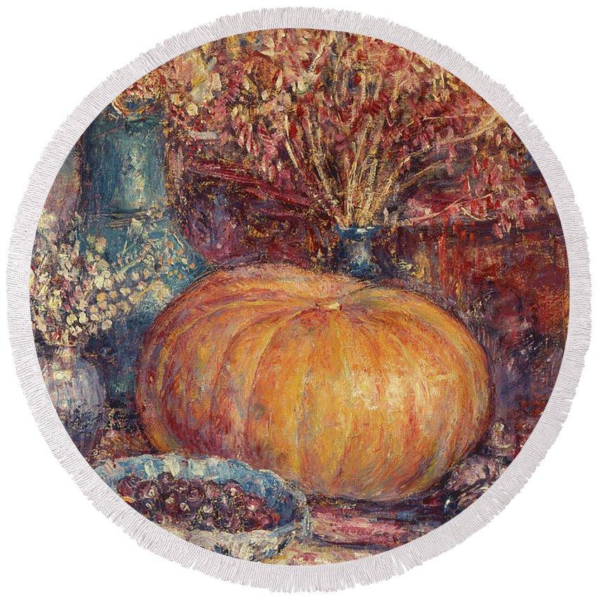 Still Life With Pumpkin Round Beach Towel featuring the painting Still Life With Pumpkin by George Morren