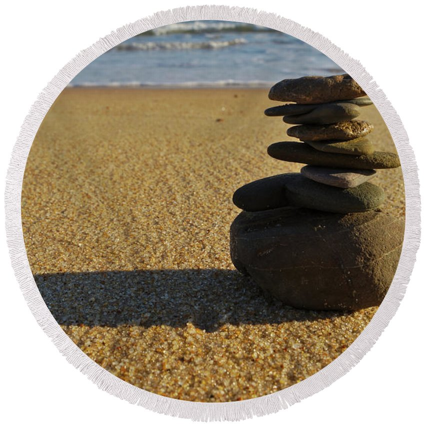 Balance Round Beach Towel featuring the photograph Stone Balance On The Beach by Angelo DeVal