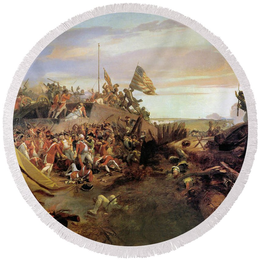 1781 Round Beach Towel featuring the painting Storming A Redoubt At Yorktown by Eugene Lami