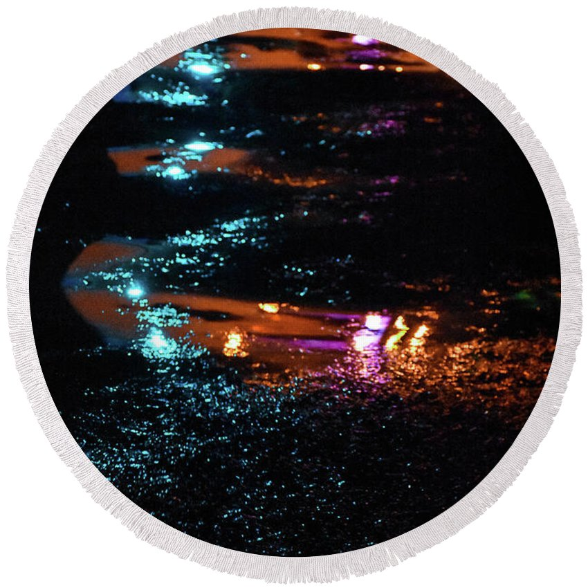 Lights Round Beach Towel featuring the photograph Street Magic by Ashleena Valene Taylor
