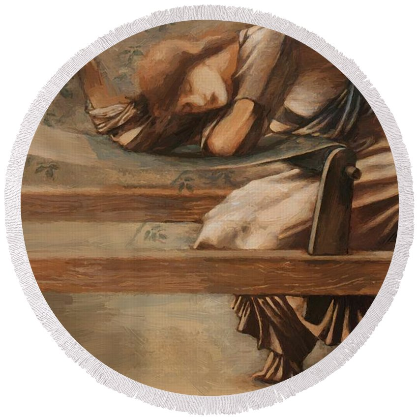 Study Round Beach Towel featuring the painting Study For The Garden Court by BurneJones Edward