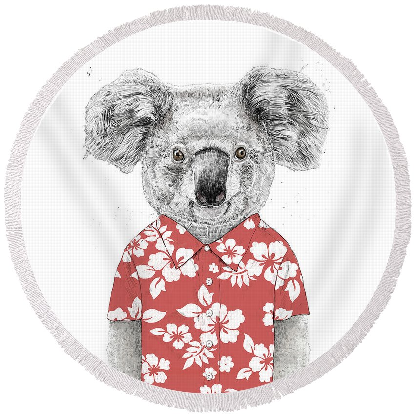 Koala Round Beach Towel featuring the drawing Summer Koala by Balazs Solti