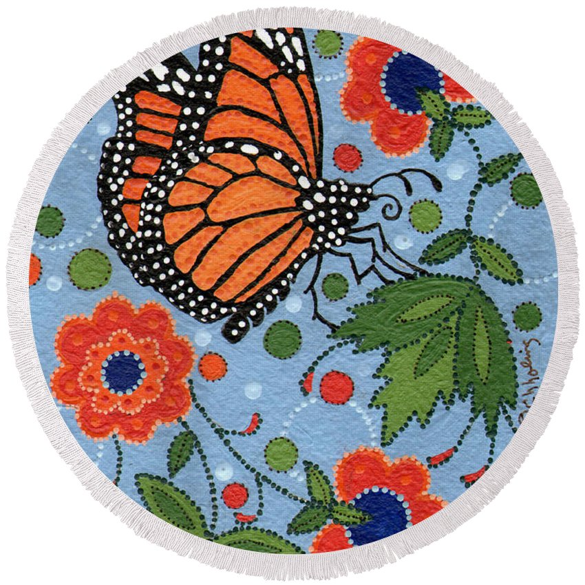 Monarch Round Beach Towel featuring the painting Summer Monarch Butterfly by Chholing Taha
