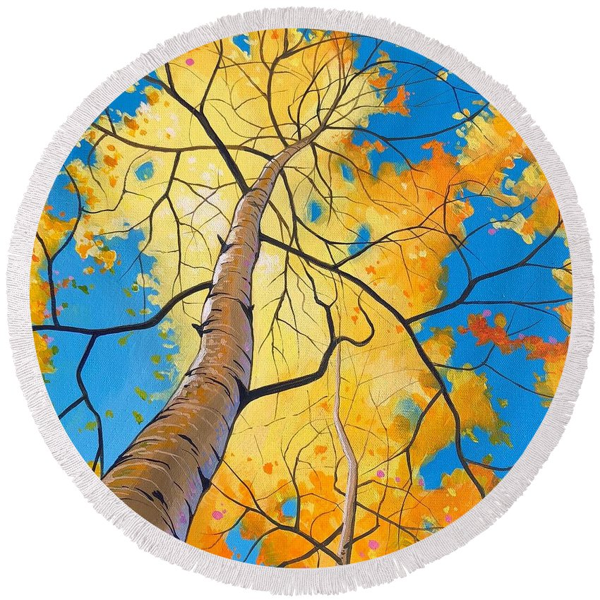 Aspen Round Beach Towel featuring the painting Summer Moved On by Hunter Jay
