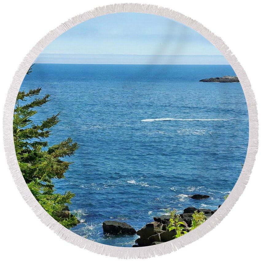 Acadia National Park Round Beach Towel featuring the mixed media Summer Sea Acadia by Tracy Ruckman