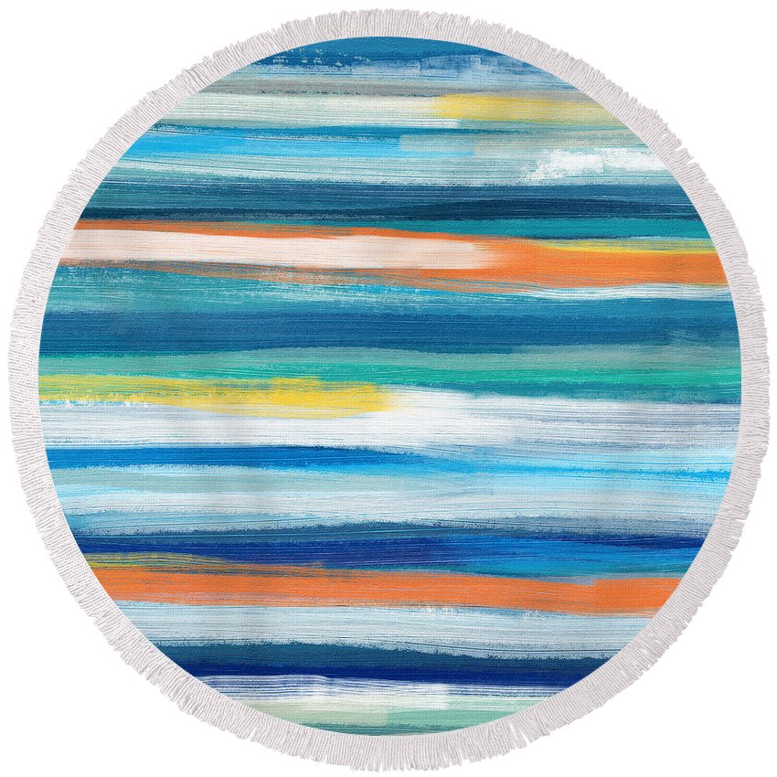 Beach Round Beach Towel featuring the painting Summer Surf 3- Art by Linda Woods by Linda Woods