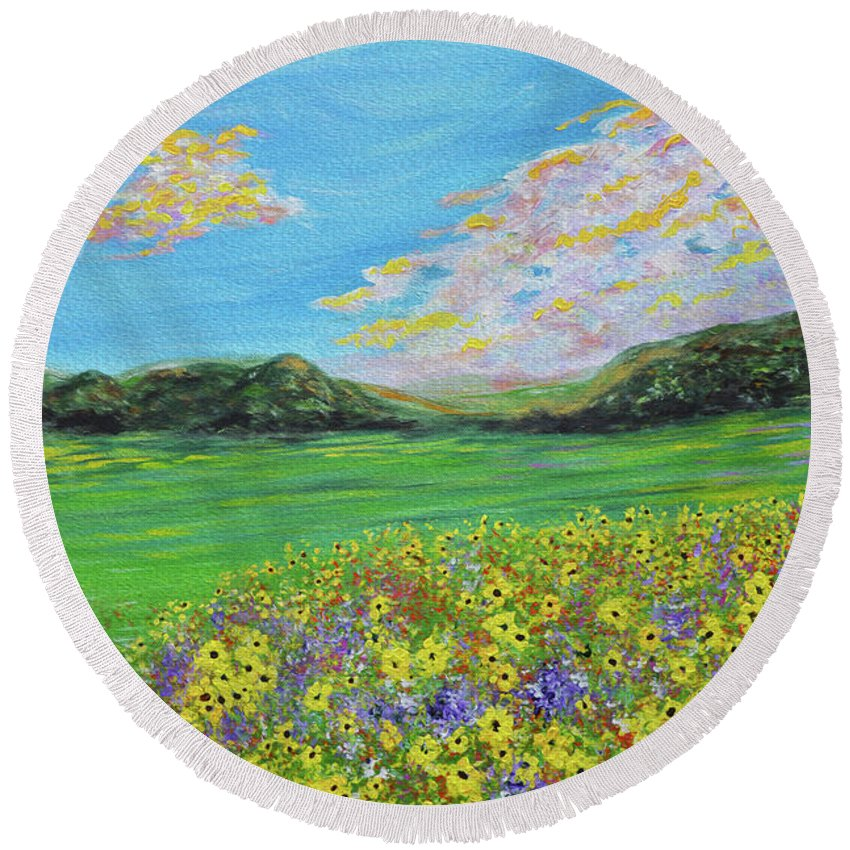 Sunflowers   Sunflower Painting   Sunflower Landscape   Impressionism   Abstract Art   Oil Painting   Flowers   Yellow Flowers   Cloud Painting   Clouds   Rolling Hills   Kathy Symonds   Artbykatsy   Abstract Flowers   Impressionism Sunflowers   Sunflower Valley   Valley Of Sunflowers Round Beach Towel featuring the painting sunflower valley- Sunflower Art-Impressionism painting by Kathy Symonds