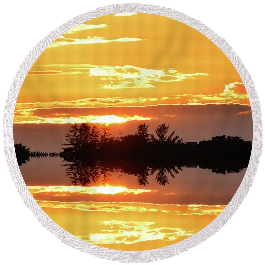 Abstract Round Beach Towel featuring the digital art Sunset Behind The Tree Tops Two by Lyle Crump