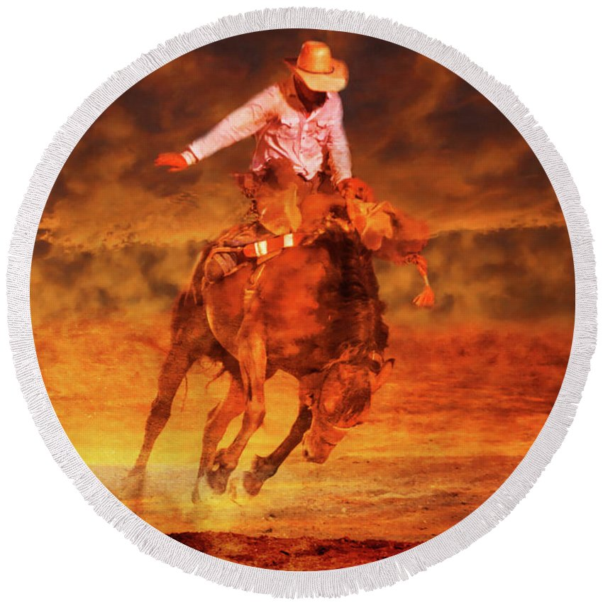 Sunset Cowboy Round Beach Towel featuring the digital art Sunset Cowboy by Randy Steele