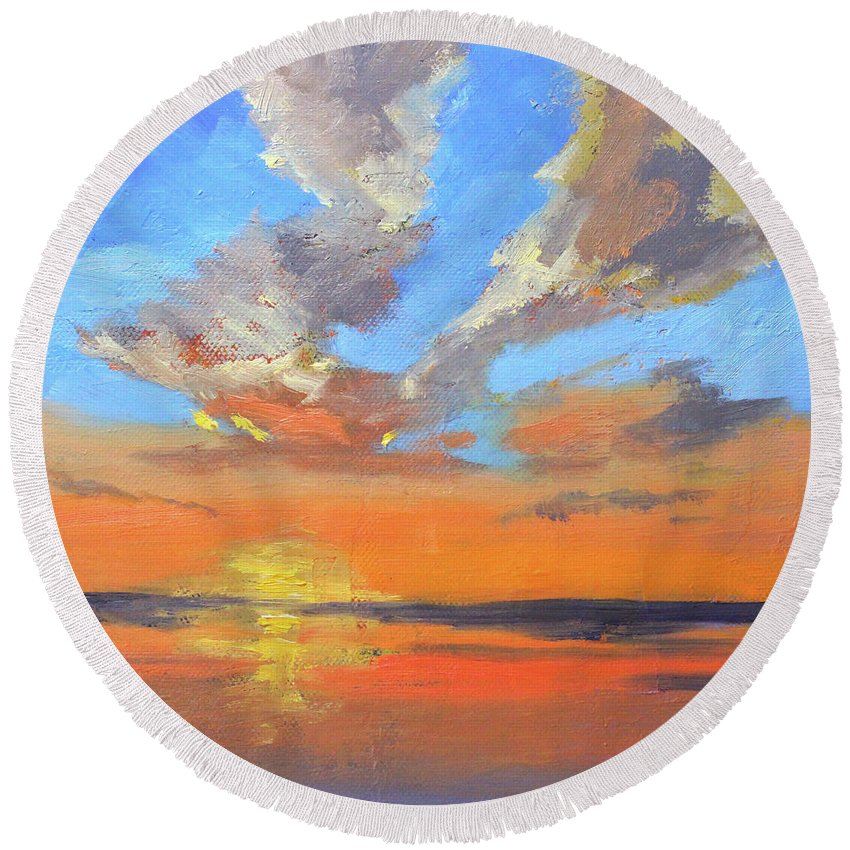 Sunset Sky Round Beach Towel featuring the painting Sunset Sky by Nancy Merkle