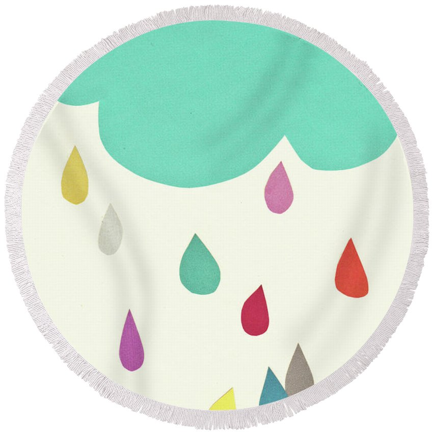Clouds Round Beach Towel featuring the mixed media Sunshine and Showers by Cassia Beck