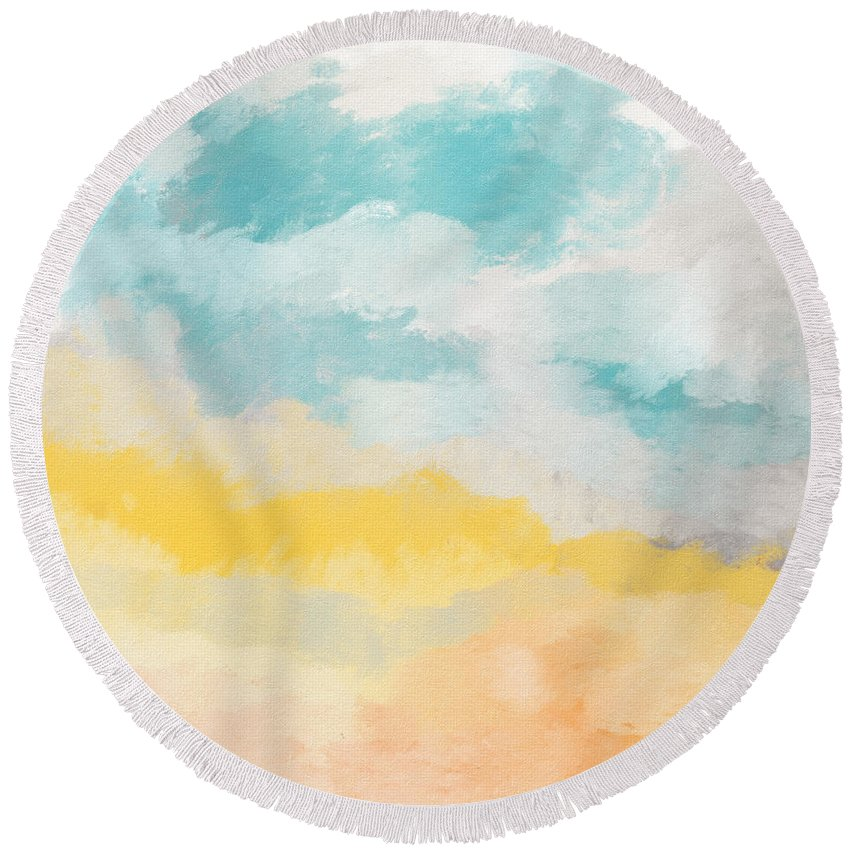 Landscape Round Beach Towel featuring the mixed media Sunshine Day- Art by Linda Woods by Linda Woods