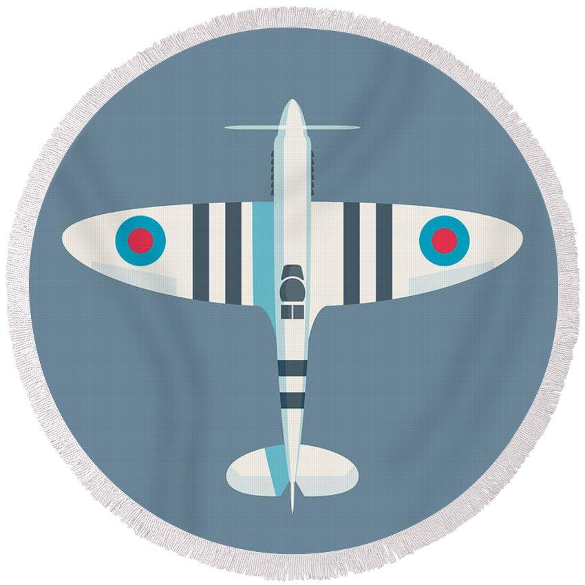 Spitfire Round Beach Towel featuring the digital art Supermarine Spitfire Fighter Aircraft - Stripe Slate by Ivan Krpan