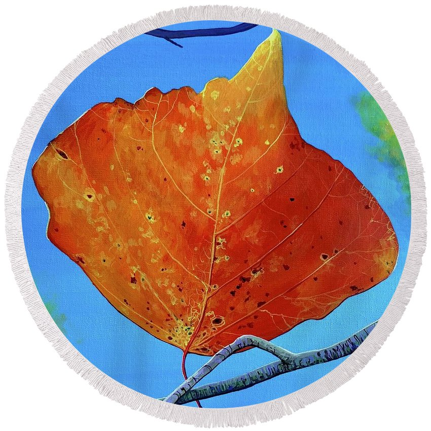 Autumn Round Beach Towel featuring the painting Surrender by Hunter Jay