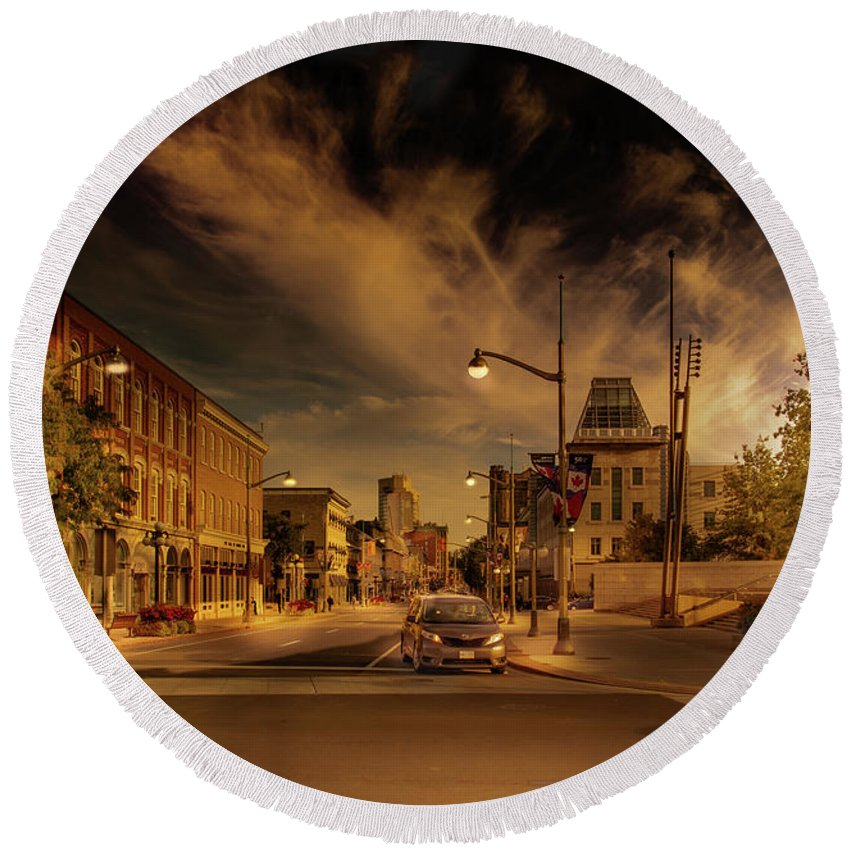 Sussex Dr. Round Beach Towel featuring the photograph Sussex Dr by Juan Contreras