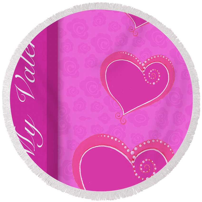 Sweet Round Beach Towel featuring the mixed media Sweet Pink Valentines IIi by Andi Metz