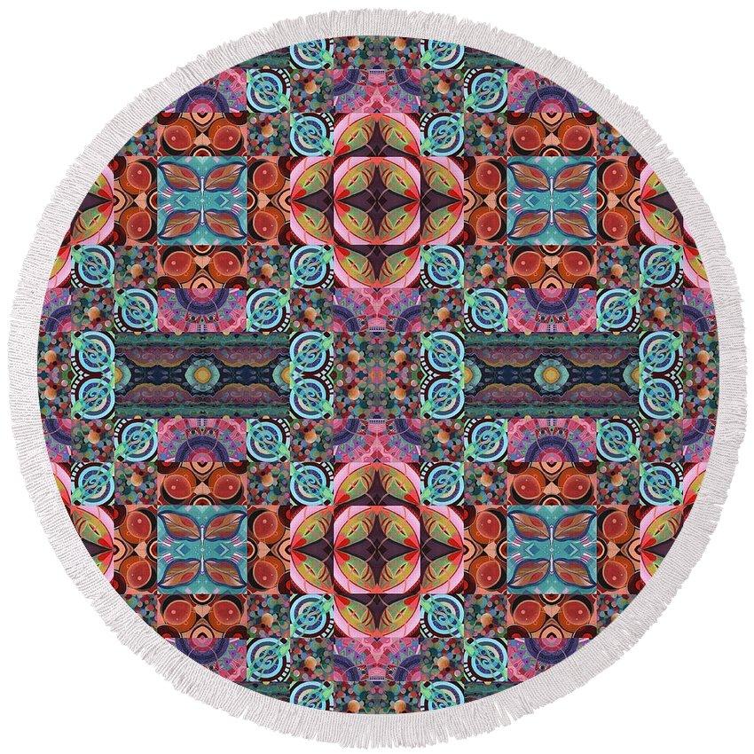 Tjod Mandala Series Puzzle 7 Arrangement 5 Mulitplied By Helena Tiainen Round Beach Towel featuring the mixed media T J O D Mandala Series Puzzle 7 Arrangement 5 Multiplied by Helena Tiainen