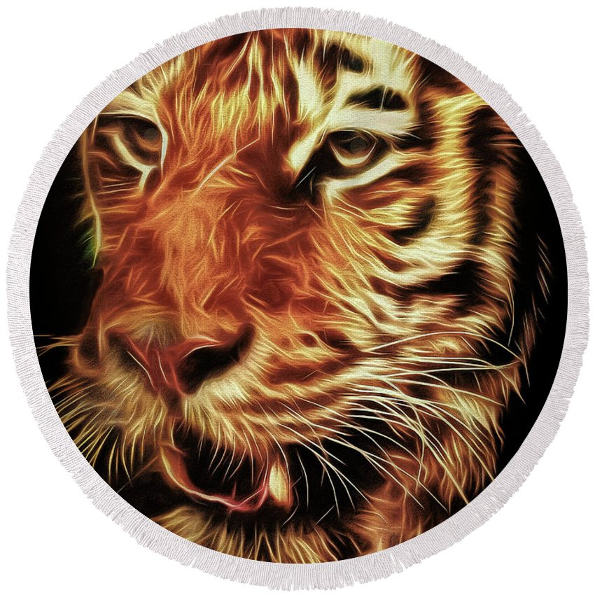 Tiger Round Beach Towel featuring the photograph T T T Tiger by Leigh Kemp
