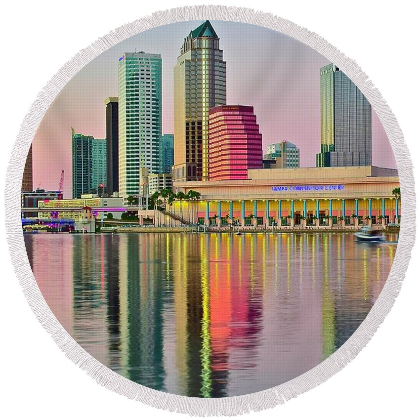 Tampa Round Beach Towel featuring the photograph Tampa In Vivid Color by Frozen in Time Fine Art Photography
