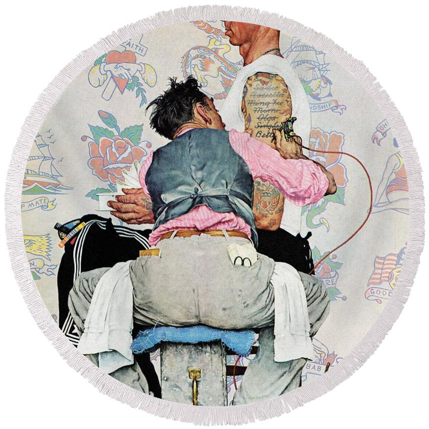 Arms Round Beach Towel featuring the drawing Tattoo Artist by Norman Rockwell