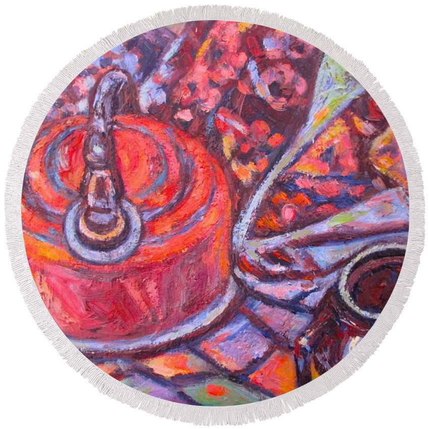 Still Life Round Beach Towel featuring the painting Tea Time by Kendall Kessler