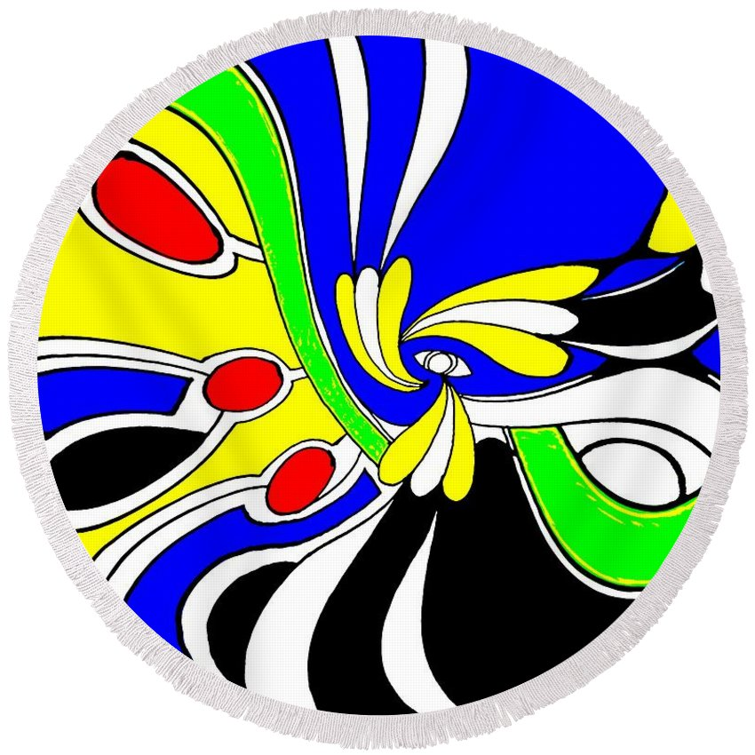 Abstract Round Beach Towel featuring the digital art Tears by Graham Roberts