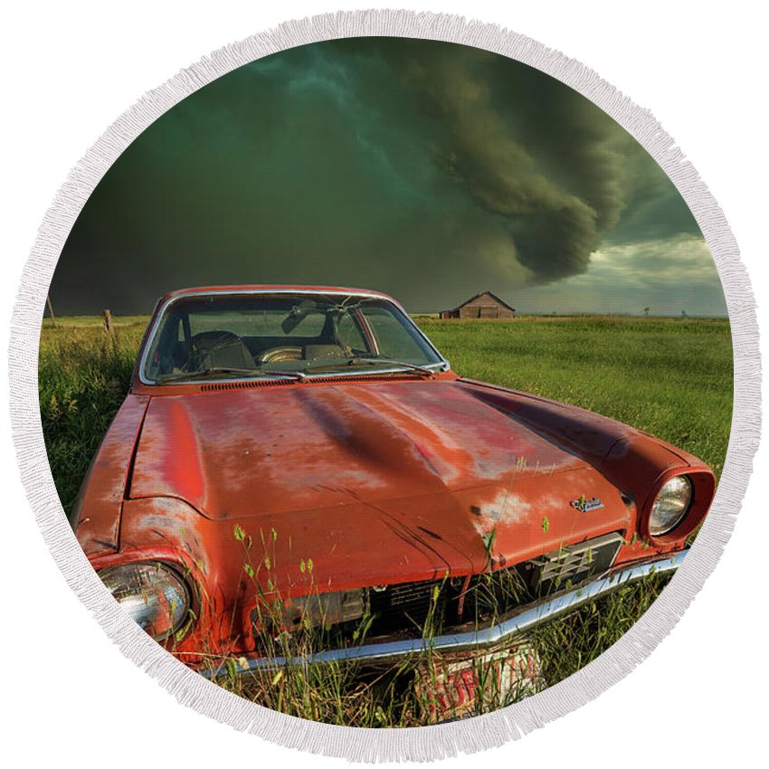 A Windy Violent Storm Round Beach Towel featuring the photograph Tempest by Aaron J Groen