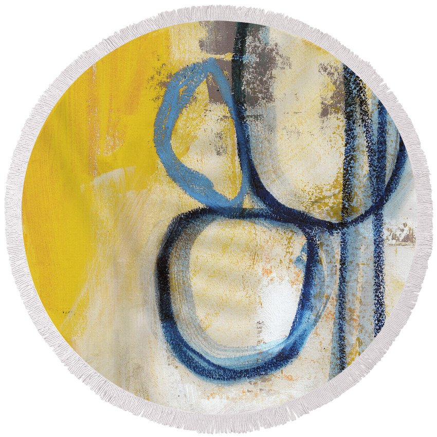 Abstract Round Beach Towel featuring the mixed media Tender Mercies Yellow- Abstract Art By Linda Woods by Linda Woods