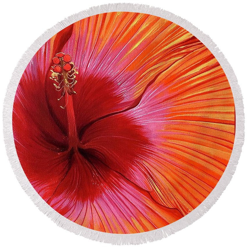 Hibiscus Round Beach Towel featuring the painting Tequila Sunrise by Hunter Jay