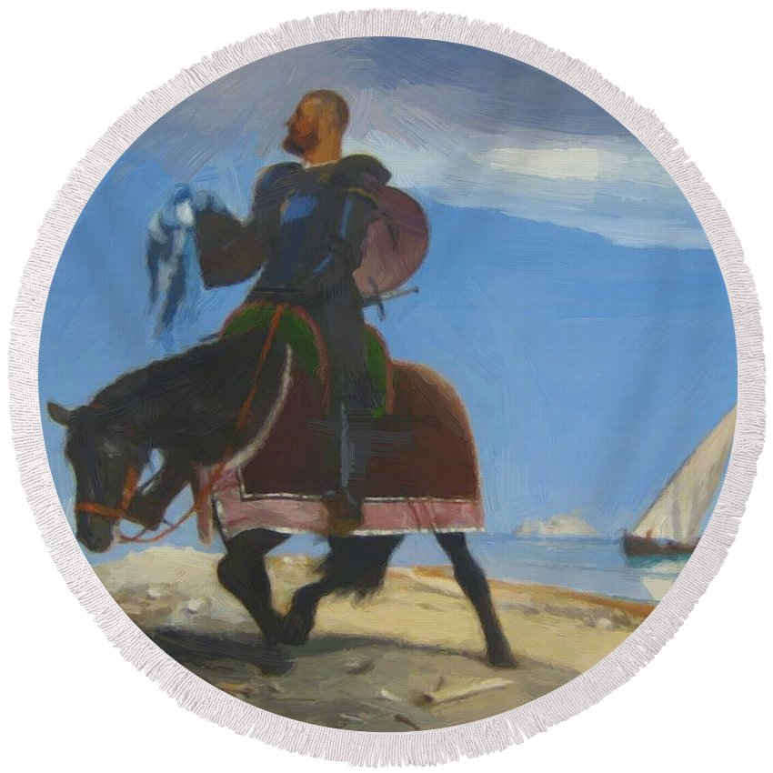 The Round Beach Towel featuring the painting The Adventurer 1882 by Bocklin Arnold