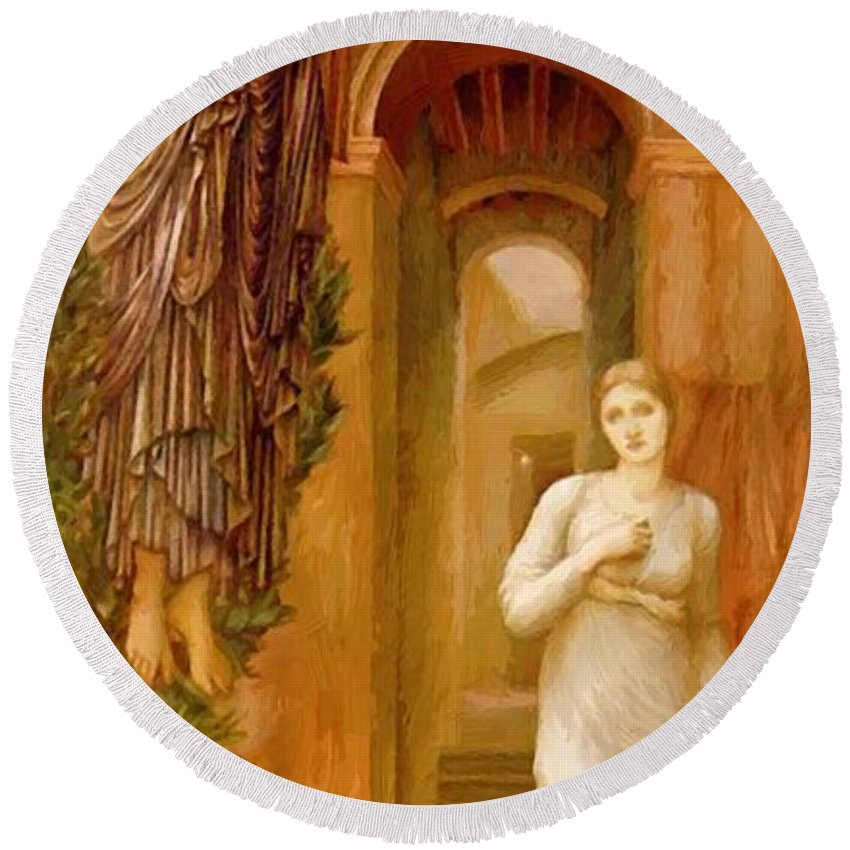 The Round Beach Towel featuring the painting The Annnciation 1879 by BurneJones Edward