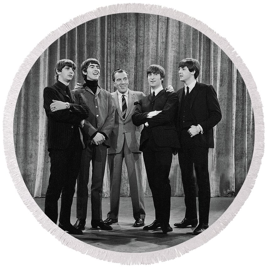 The Beatles Round Beach Towel featuring the photograph the beatles and ed sullivan - February, 1964 by Mountain Dreams