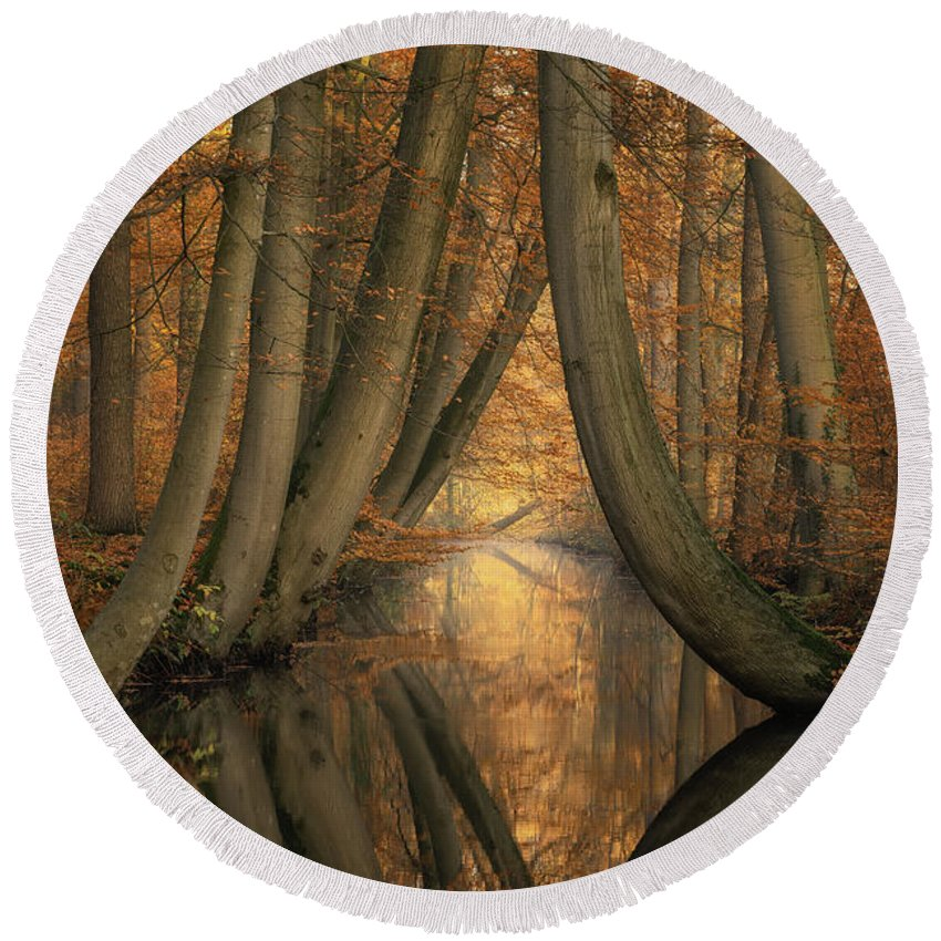 Trees Round Beach Towel featuring the photograph The Bent Ones by Martin Podt