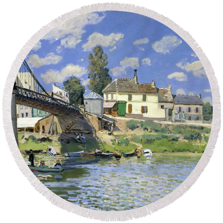 Alfred Sisley Round Beach Towel featuring the painting The Bridge At Villeneuve-la-garenne - Digital Remastered Edition by Alfred Sisley