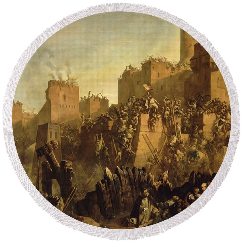 Jacques De Molay Round Beach Towel featuring the painting The Capture Of Jerusalem By Jacques De Molay, Crusade by Claudius Jacquand