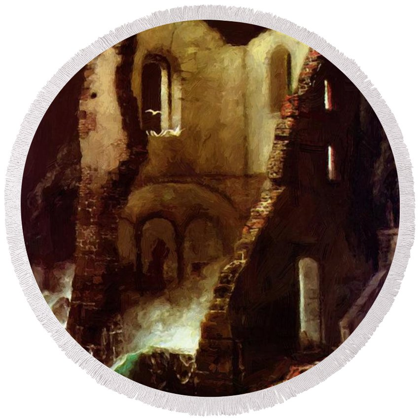 The Round Beach Towel featuring the painting The Chapel 1898 by Bocklin Arnold