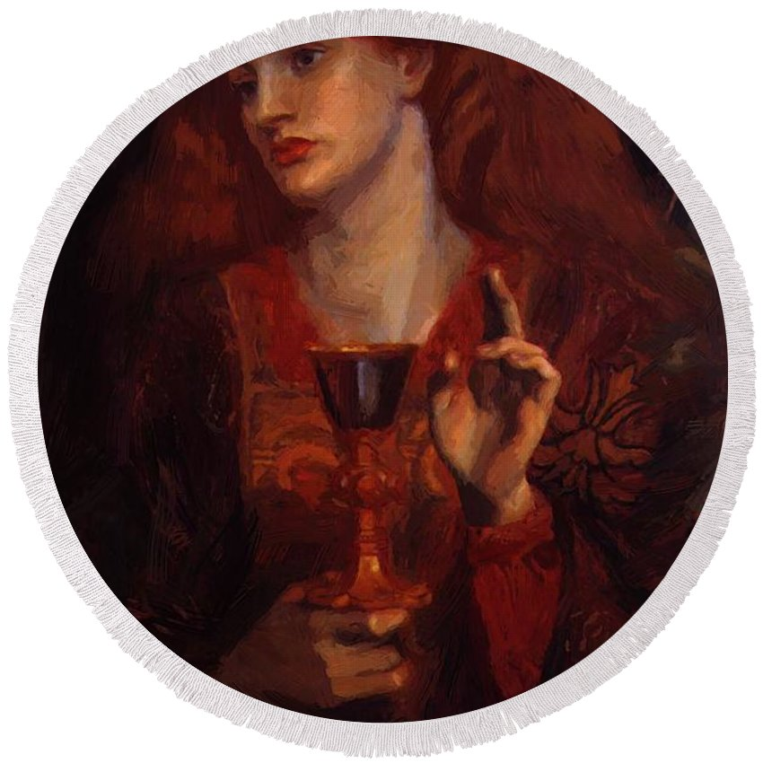 The Round Beach Towel featuring the painting The Damsel Of The Sanct Grail by BurneJones Edward