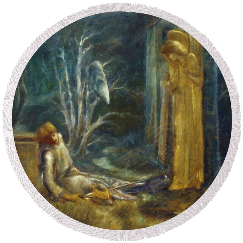 The Round Beach Towel featuring the painting The Dream Of Lancelot Study by BurneJones Edward