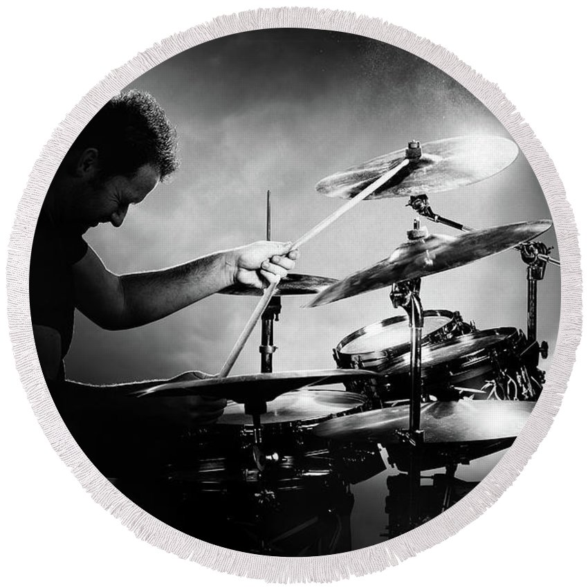 Drummer Round Beach Towel featuring the photograph The Drummer by Johan Swanepoel