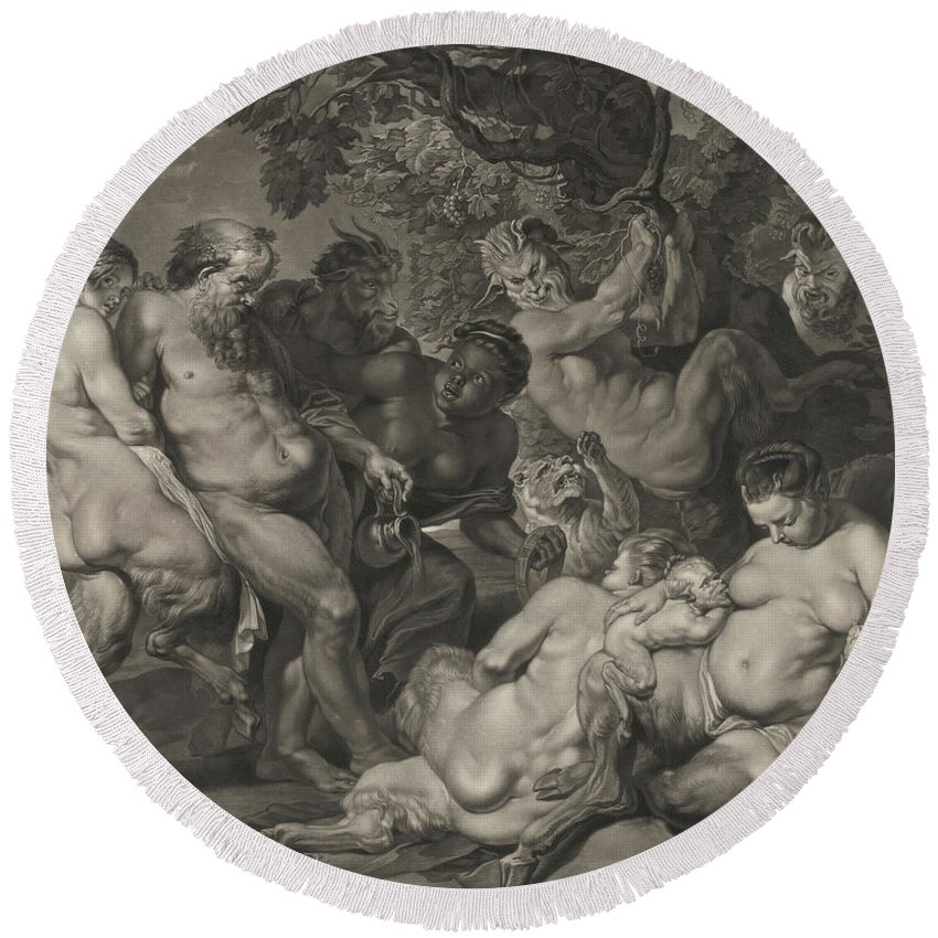 Paul Rubens Round Beach Towel featuring the painting The Drunken Silenus, 1617 by Peter Paul Rubens