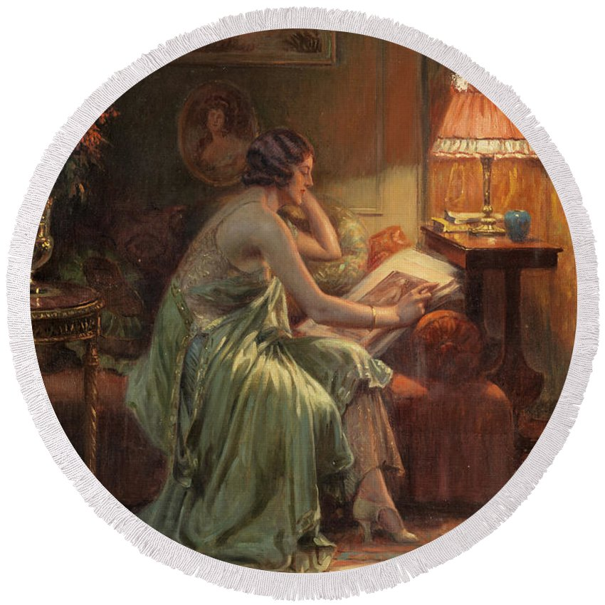The Folio Round Beach Towel featuring the painting The Folio by Delphin Enjolras