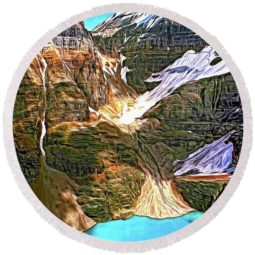 Canadian Rockies Round Beach Towel featuring the photograph The Great Divide - Paint by Steve Harrington