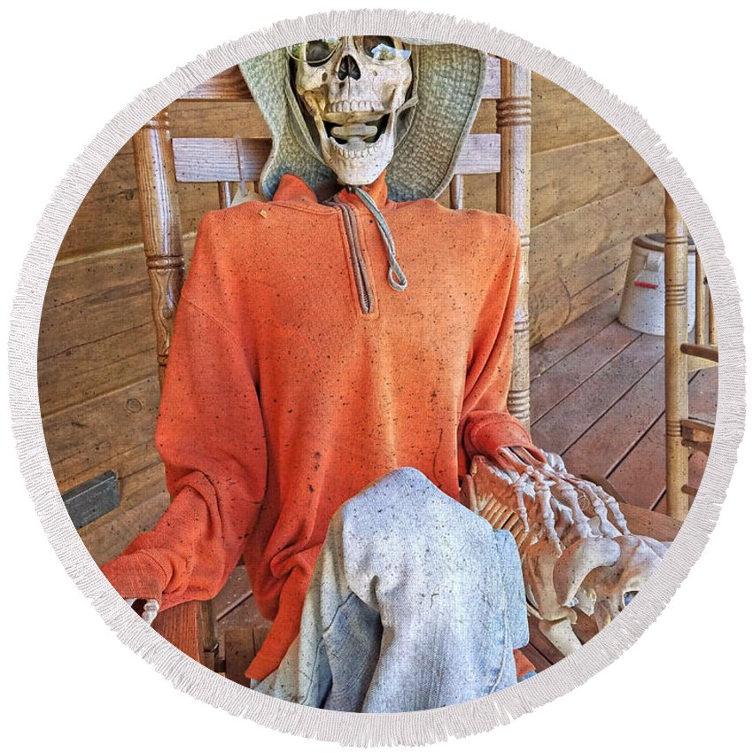 Skeleton Round Beach Towel featuring the photograph The Greeter by Betsy Knapp