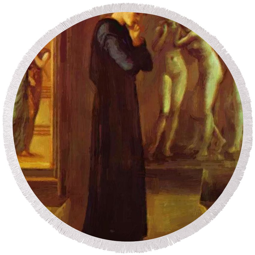 The Round Beach Towel featuring the painting The Heart Desires The Pygmalion Series 1870 by BurneJones Edward