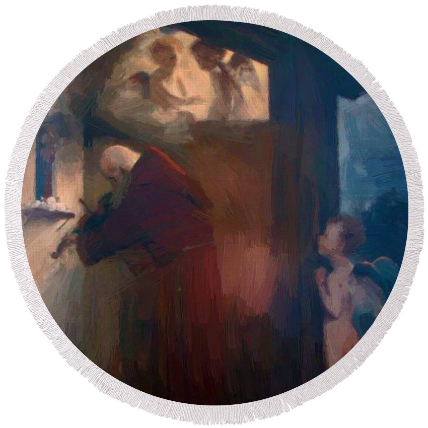 The Round Beach Towel featuring the painting The Hermit 1884 by Bocklin Arnold